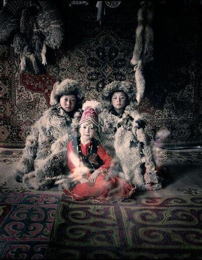 Jimmy Nelson, 'VI 27 - Bakbergen, Samil & Kamilla - Altantsogsts, Bayan Olgii - Mongolia', 2011