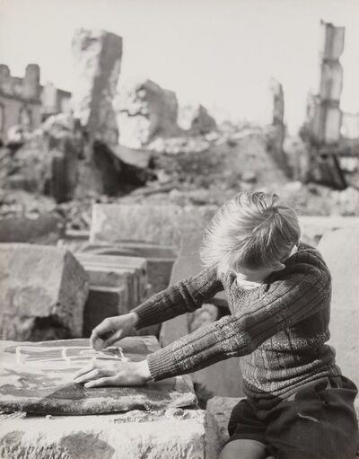 Werner Bischof, 'Boy Drawing in the Ruins, Freiburg, Germany, June'