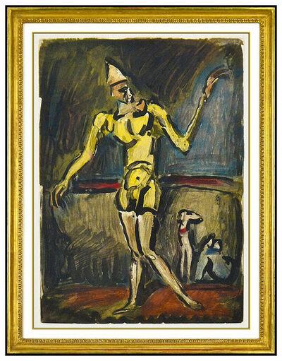 Georges Rouault, 'Georges Rouault Le Clown Jaune Color Etching Portrait Authentic Framed Artwork', 1930