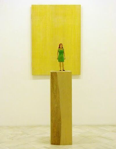 Stephan Balkenhol, 'Woman in green dress with yellow relief', 2006