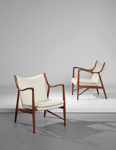 Finn Juhl, 'Pair of armchairs, model no. FJ 45', designed 1945-produced 1950s