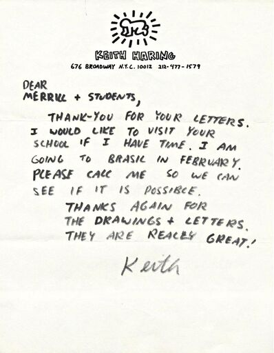 Keith Haring, 'Handwritten, Hand Signed Letter on Private Stationery', ca. 1987