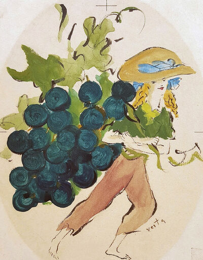 Marcel Vertes, 'Girl with Grapes'