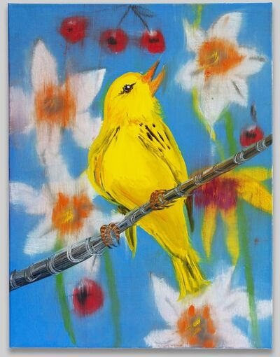 Ann Craven, 'Singing Finch (on Blue with Daffodils and Cherries)', 2020