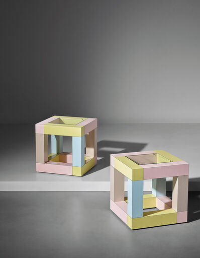 Ettore Sottsass, 'Pair of early 'Mimosa' side tables', circa 1981