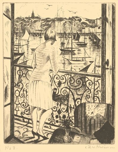 Christopher Richard Wynne Nevinson, 'Woman at a Balcony, Dieppe', 1928-1929