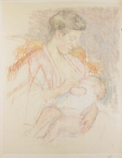Mary Cassatt, 'Mother Jeanne Nursing Her Child (Profile Left) (No. 3)', ca. 1908
