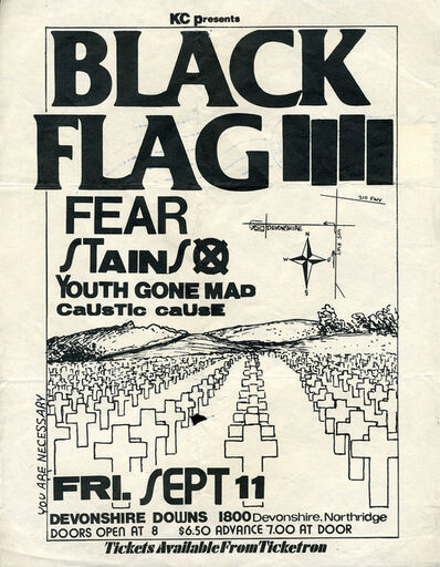 Raymond Pettibon, 'Raymond Pettibon, Illustrated Punk Flyer (Black Flag)', 1981