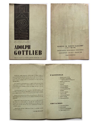 "Adolph Gottlieb, '""Adolph Gottlieb"", 1947,  Exhibition Pamphlet, The Kootz Gallery NYC', 1947"