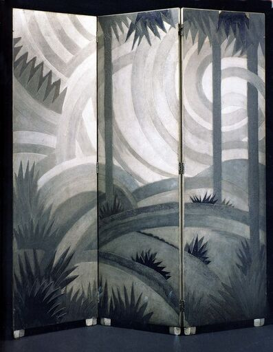 Jean Dunand, 'Three-panel screen in torn lacquer in tones of gray and black', ca. 1923