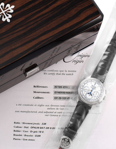 Patek Philippe, 'An extremely fine and rare limited edition perpetual calendar chronograph wristwatch with white dial, blued seconds hand, certificate of origin, additional solid case back, and presentation box, single sealed.', Circa 2013