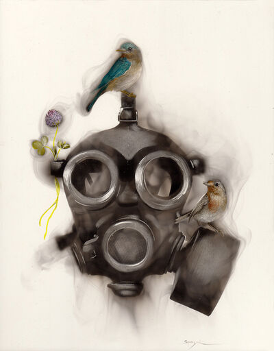 Steven Spazuk, 'Gas Mask with 2 Birds and a Clover', 2019