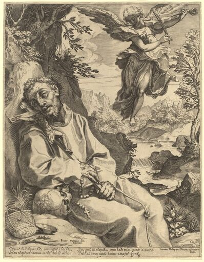 Agostino Carracci, 'Saint Francis Consoled by the Musical Angel', 1595