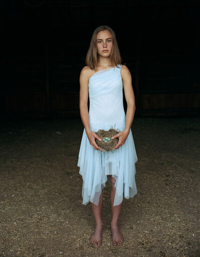 Laura McPhee, 'Mattie Holding a Robin's Nest, in Her Eighth Grade Graduation Dress Laverty Ranch, May 2005, Idaho 2/5'