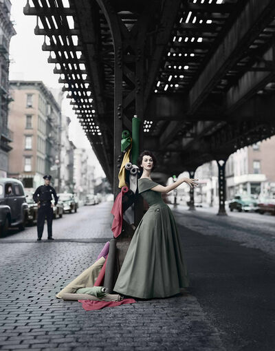 William Helburn, 'Dovima Under the El, Dior', 1956