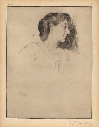 Julian Alden Weir, 'Profile Head of a Woman', 1890