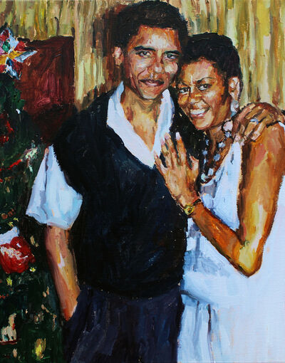 Fanie Buys, 'I made this painting and then got a heart shaped Obama Keyring', 2019
