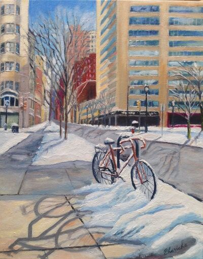 Bhavisha Patel, 'Bicycles in Snow, Walnut Street', 2017