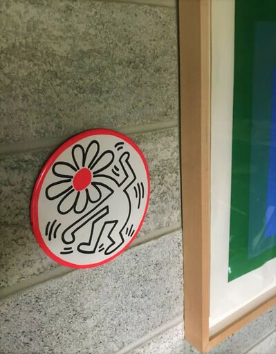 """Keith Haring, '""""Dancing Flower"""", POP Shop LARGE Store Display Pin, 9"""" Diameter, Ex. POP Shop Managers Estate, UNIQUE', 1989"""
