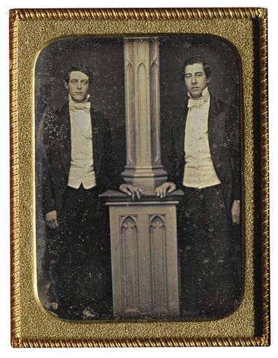 Anonymous American Photographer, 'Well-Dressed Men Posed by Column'