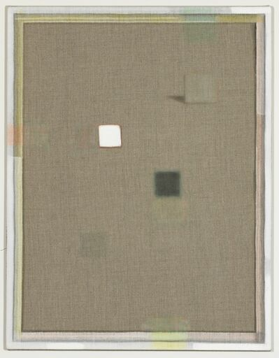 Christoph Schellberg, 'Unprimed painting with white square and shadow', 2014