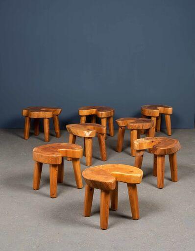 Travail Suédois, 'Set of eight brutalist stools', vers 1960