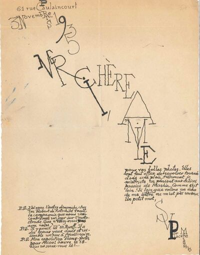 Louis Marcoussis, 'Creative Letter from Louis Marcoussis', 1935