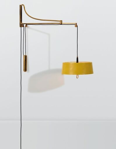 Oscar Torlasco, 'a wall lamp with an extendable brass structure and lacquered aluminum shade', ca. 1950