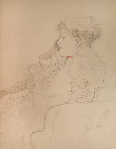 Gustav Klimt, 'Sketched Portrait: Lady with Scarf', 1919