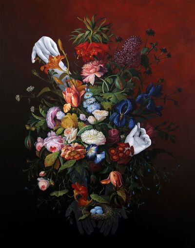 Shawn Huckins, '(Flower Still Life With Bird's Nest)', 2020