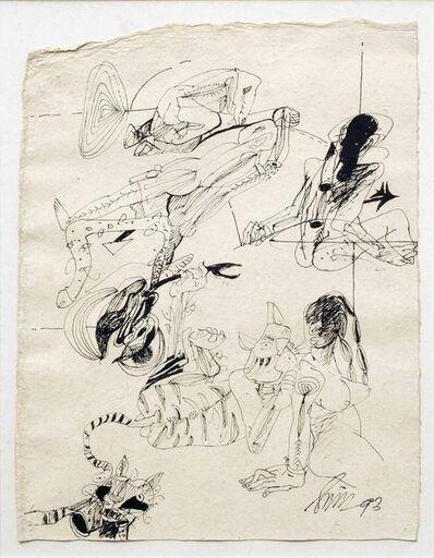 Sunil Das, 'Figurative, Nude Drawing in Pen & Ink on paper By Padmashree, Taj Shiromoni Artist Sunil Das', 1993
