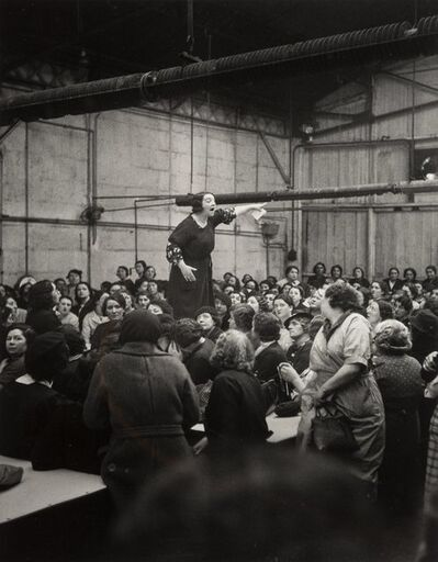 Willy Ronis, 'Shop Steward Rose Zehner Addressing Workers During the Strike at Citroën, Paris', 1938
