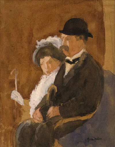Gwen John, 'Profile of Bourgeois Couple', Probably executed 1910s