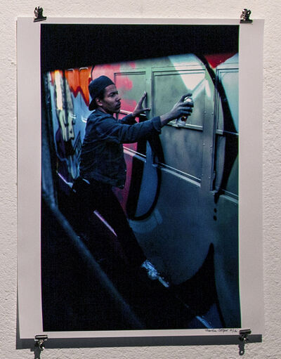 Martha Cooper, 'Dondi Painting Train in New Lots Yards, Brooklyn', 1980