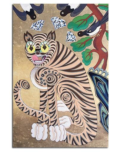 Stephanie S. Lee, 'Korean Tiger Awaiting Fortune under a pine tree', 2016