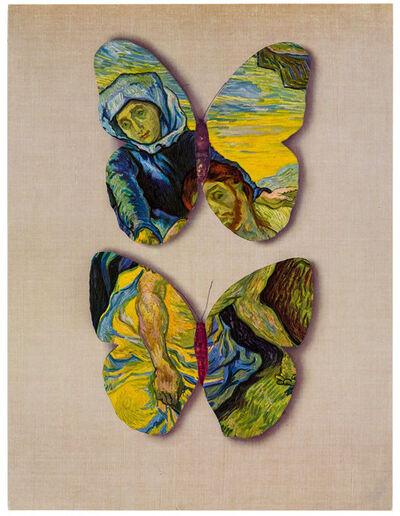Jiri Kolar, 'Two Butterflies with Van Gogh¿s 'Deposition from the Cross'', 1989