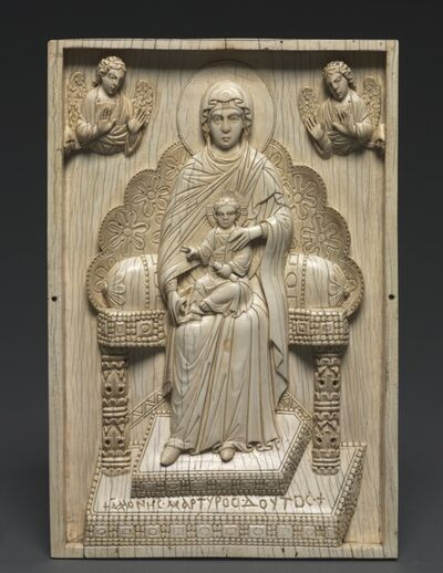 "Byzantium, Constantinople, Byzantine period, 'Ivory Plaque with Enthroned Mother of God (""The Stroganoff Ivory"")', 950-1025"