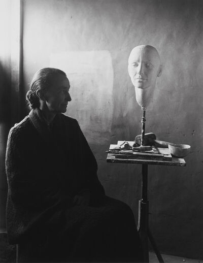 Eliot Porter, 'Georgia O'Keeffe and Head of O'Keeffe by Mary Callery, Ghost Ranch, New Mexico', 1945