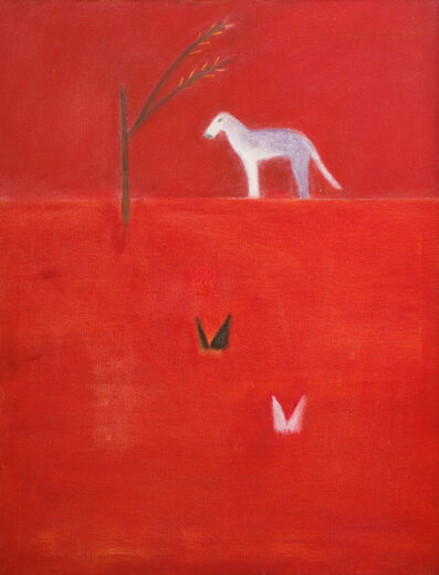Craigie Aitchison, 'Dog with Tree & Two Butterflies', ca. 1974