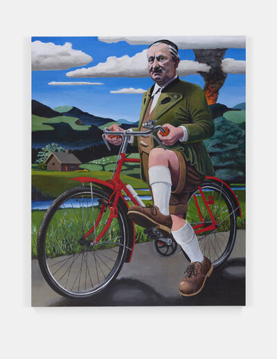 Merlin Carpenter, 'This Is What Happens When You Collaborate With Nazis: Professor Martin Heidegger Trying To Escape By Bike From The Approaching U.S. Army, Spring 1945', 2019