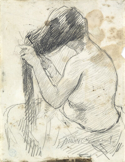 Mary Cassatt, 'Nude Brushing her Hair'