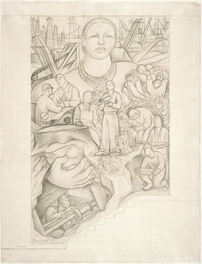 Diego Rivera, 'Energy, study for the main wall of the mural Allegory of California, Pacific Stock Exchange Luncheon Club, San Francisco', 1930