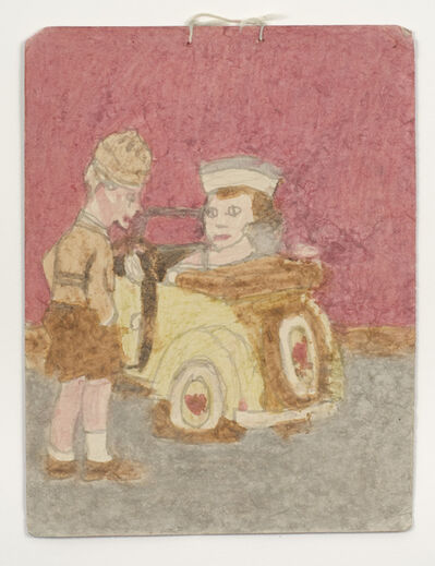 James Castle, 'Untitled (Girl driving yellow Beetle with boy, foreground)', n.d.