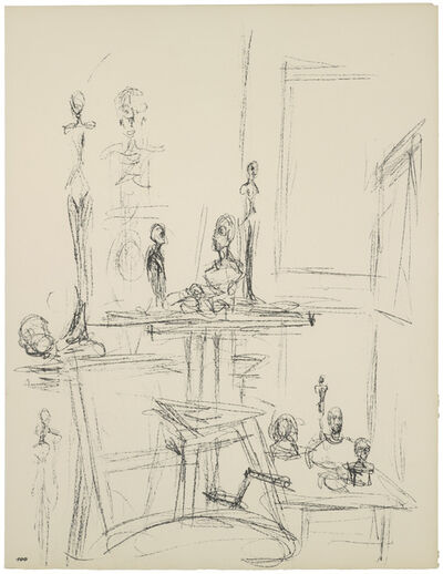 Alberto Giacometti, '[Sculptures in the Studio IX] Paris sans fin, plate 100, before 1965', 1969