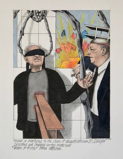 "Michael Dwyer, 'Frank is martyred to the cause of deconstructivism, crucified and impaled on the  modernist ""beam of truth. ', 2020"