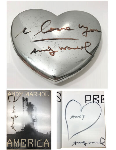 "Andy Warhol, 'TWO PIECE SET- ""I LOVE YOU"", SIGNED/Inscription FIORUCCI Silver Heart Box & 'AMERICA', SIGNED/Heart Drawing from the ""FIORUCCI LOVES ANDY WARHOL, ANDY WARHOL LOVES AMERICA"" ', 1986"