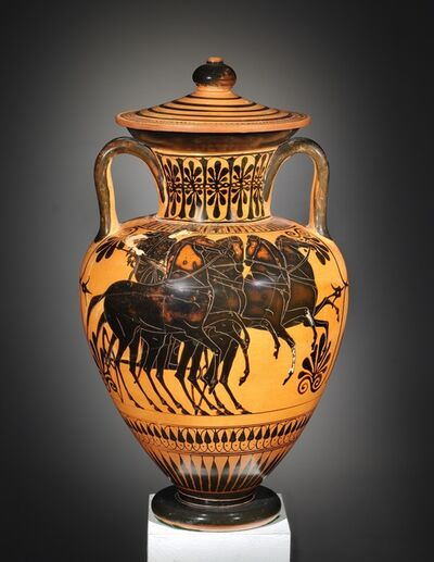 Unknown Greek, 'A Black-figure Amphora with Lid, Attributed to the Leagros Group'