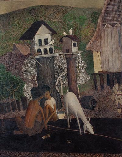 Cheong Soo Pieng, 'Malay Boy with Goat 馬來男孩與山羊', 1981