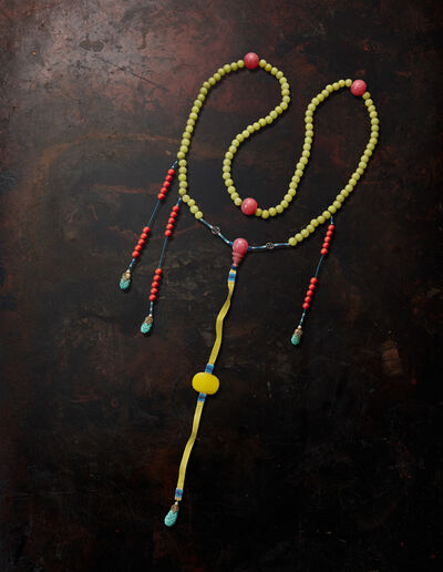 Unknown Chinese, 'Mandarin yellow glass beads court necklace ', Qing dynasty-19th century