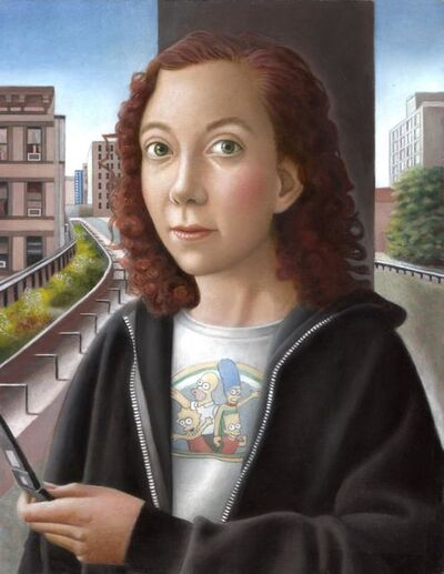 Amy Hill, 'Woman with Flip Phone'